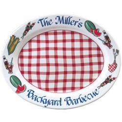 Personalized Red Gingham Barbecue Platter