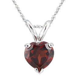 0.97 Cts Garnet Solitaire Heart Pendant in 14K White Gold