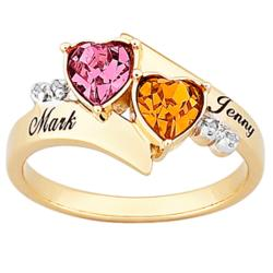 18K Gold over Sterling Couples Birthstone Heart Name Diamond Ring