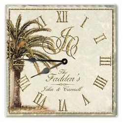 Personalized Palm Tree Tumbled Tile Clock with Wrought Iron Stand