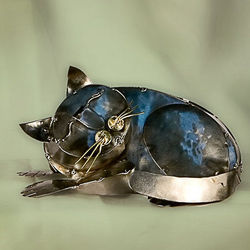 Sleeping Kitten Tin Sculpture