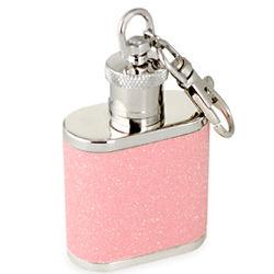 Pink Glitter Flask Keychain
