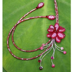 Scarlet Splendor Garnet Flower Necklace