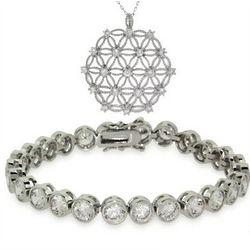 Cubic Zirconia Lattice Lace Necklace and Bracelet