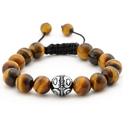 Tiger's Eye Beads and Bali Bead Shamballa Inspired Bracelet