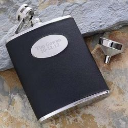 Men's Personalized Black Leather Pocket Flask