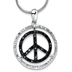 Black and White Diamond Peace Sign Pendant