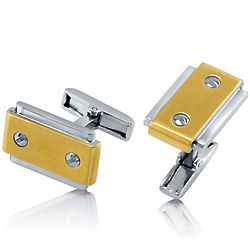 Gold Tone Stainless Steel Cufflinks with Slotted Screws