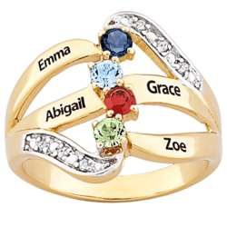 Mother's Two-Tone Name and Birthstone Diamond Ring