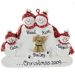 Snowfamily Of 4 + Tan Dog Personalized Ornament