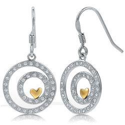 Sterling Silver Cubic Zirconia Heart in Circles Dangle Earrings