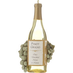 Pinot Grigio Wine Bottle with Grapes Personalized Ornament
