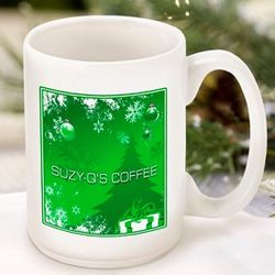 Personalized Green Holiday Surprises Coffee Mug