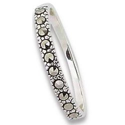 Nouveau Pearl and Marcasite Band Ring