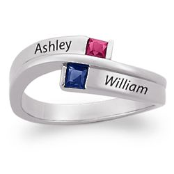 Sterling Silver Couple's Square Birthstone and Name Ring