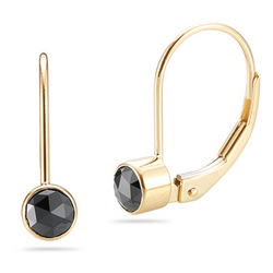 Black Diamond Earrings in 14K Yellow Gold with Lever Back