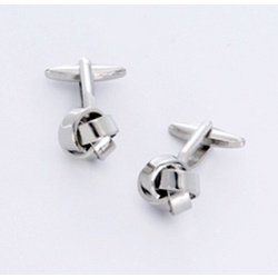 Silver Knot Cufflinks with Personalized Case