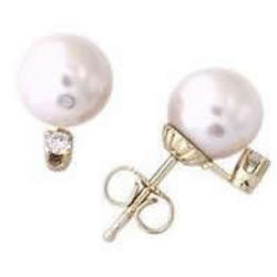 Cultured Round Pearl and Diamond Stud Earrings