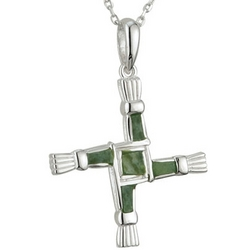 Sterling Silver Connemara Marble St. Brigid Cross Necklace