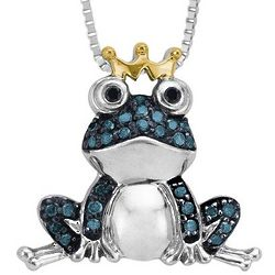 Teal Green & Black Diamond Frog Prince Necklace