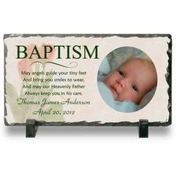 Personalized Baptism Photo Slate Plaque