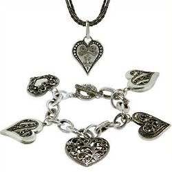 Bali Style Heart Necklace and Charm Bracelet