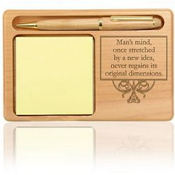 Man's Mind Wooden Notepad and Pen Holder