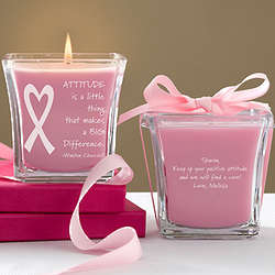 Courage and Strength Personalized Breast Cancer Awareness Candle