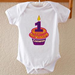 Personalized Birthday Cupcake Baby Bodysuit