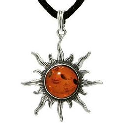 Sterling Silver Baltic Amber Sun Pendant