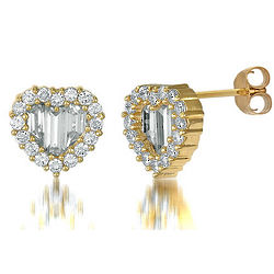 Gold-Plated Cubic Zirconia Heart Stud Earrings