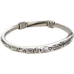 Floral Motif Silvery Bangle Bracelet