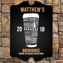 Modern Craft Beer Personalized Bar Sign