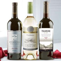 Merlot, Semi-Dri White, and Dry Red 3 Wine Bottles Gift Set