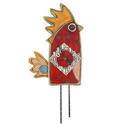 Whimsical Red Hen Contemporary Folk Style Clock