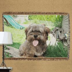 "Personalized 54"" Pet Photo Tapestry Throw"