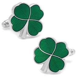 Green Enamel Clover Cufflinks
