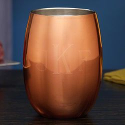 Classic Monogram Engraved Copper Stemless Wine Glass