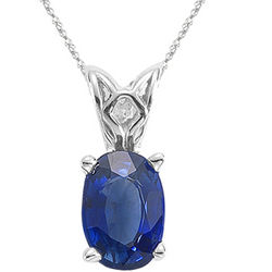 Blue Sapphire Solitaire Pendant in 14K White Gold