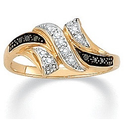 Black adn White Diamond Accent 10K Gold Ring