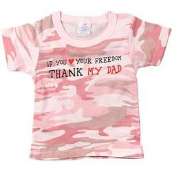"Baby Pink Camo ""Thank My Dad"" T-Shirt"
