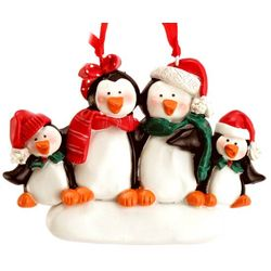 Personalized Penguin Family of 4 Christmas Ornament