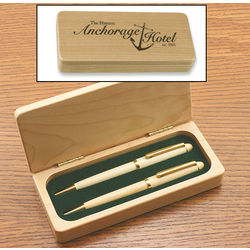 Maple Pen and Pencil Set in a Maple Display Case