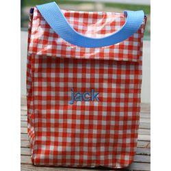 Monogrammed Orange Check Lunch Bag