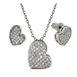 Sparkling Cubic Zirconia Heart Necklace and Earrings