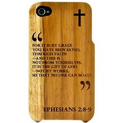 iPhone 4 Teak Case with Ephesians 2:8-9 Quote
