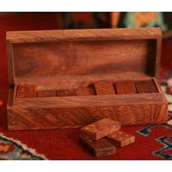 Challenge Wood Box and Dominoes