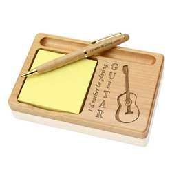 Rather Play Guitar Wooden Notepad and Pen Holder