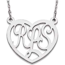 Sterling Silver Monogram Large Heart Necklace
