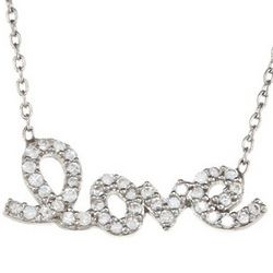 Sterling Silver Cubic Zirconia Script Love Necklace